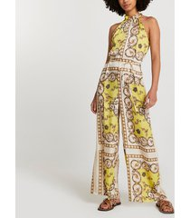 river island womens yellow scarf print tie waist jumpsuit