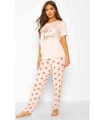 bride's squad hartjes t-shirt en leggings set, roségoud