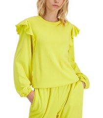inc international concepts cotton ruffled-shoulder sweatshirt, created for macy's