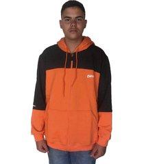 blusa moletom masculino chronic com ziper e capuz r/ 019 laranja