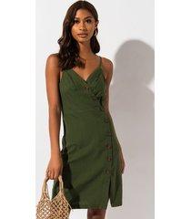 akira pretty little thing linen button midi dress