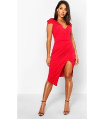 cap sleeve wrap midi dress, red