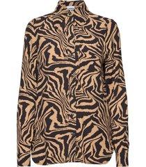 printed crepe blouse lange mouwen bruin ganni