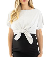 angel maternity tie front maternity/nursing t-shirt, size small in grey at nordstrom