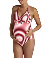 women's pez d'or stripe one-piece maternity swimsuit, size small - red