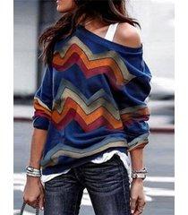 camiseta de punto de hombro con rayas aleatorias en color marino block block one
