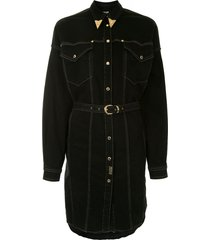 versace jeans couture embellished collar belted shirt dress - black