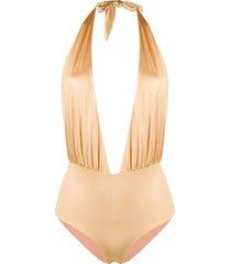 john richmond reversible halterneck swimsuit - gold