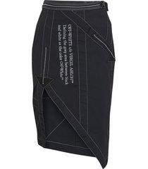 black and white asymmetric slit skirt