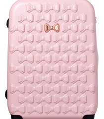 ted baker london small beau 22-inch bow embossed four-wheel trolley suitcase - pink