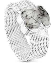 anillo mesh plata y cuarzo turmalinado tous