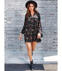 yoins black random floral print v neck long sleeves chiffon dress