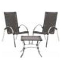 jogo cadeiras 2un e mesa de centro garden para edicula jardim area varanda descanso - tabaco