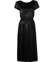 armani exchange coated pleated-panel midi dress - black