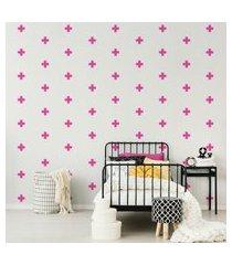 adesivo de parede cruz rosa pink 69un 9x9cm cobre 4m²