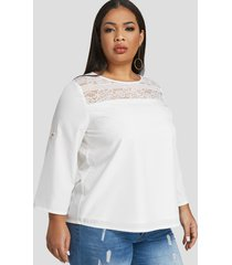 plus talla blanca ajustable redonda cuello blusa con encaje