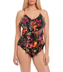 women's magicsuit oasis rita tankini top, size 8 - black