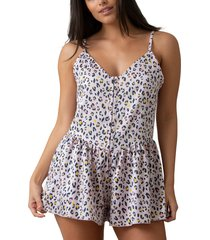 women's honeydew sugar & spice sleeveless romper, size large - pink