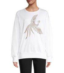 kenzo women's embroidered flying phoenix sweatshirt - white - size l