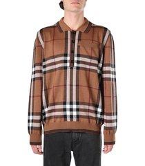 burberry check print wool polo shirt