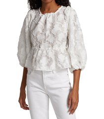 free people women's callie puff-sleeve appliqué top - ivory - size xs