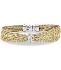 alor women's classique stainless steel, 18k white gold & diamond bangle bracelet