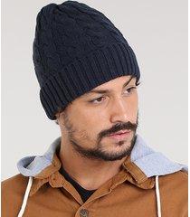 gorro masculino em tricô trançado azul marinho