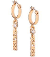 guess gold-tone crystal & logo charm hoop earrings