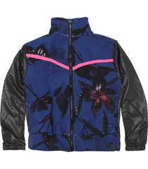 jaqueta alto giro menina floral azul