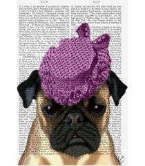 "fab funky pug with vintage purple hat canvas art - 27"" x 33.5"""