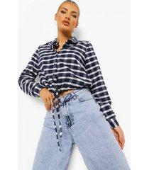 geruite utility blouse met zakken, navy
