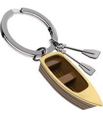 llavero bote brown boat european style mtm pasta/acero