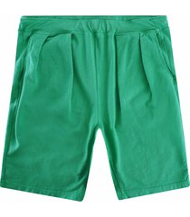 monitaly french terry pleated shorts | green | m29450-grn