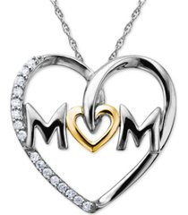 mom diamond heart necklace in sterling silver and 14k gold (1/10 ct. t.w.)
