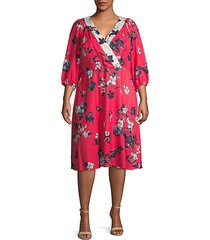 plus floral three-quarter sleeve dress