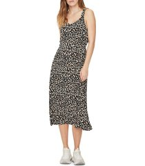 vero moda women's sleeveless leopard printed dress - black oatmeal - size m