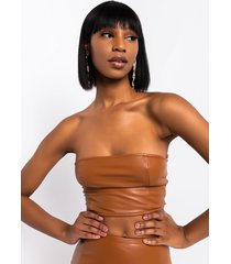 akira barbie doll faux leather cropped top