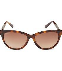 swarovski women's 57mm faux tortoiseshell cat eye sunglasses - havana