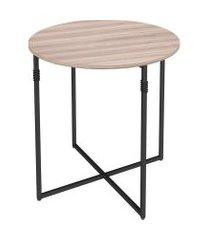 mesa lateral redonda joice carvalho e preta