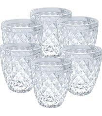 conjunto de copos bico de abacaxi transparente 6 peças