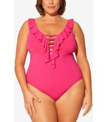 bleu by rod beattie plus size ruffled strappy one-piece swimsuit women's swimsuit
