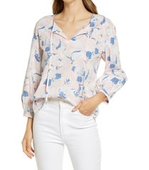 women's caslon tie front popover top, size large - ivory