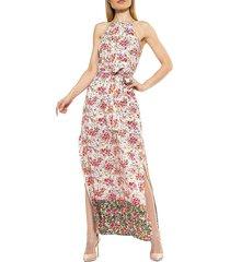 alexia admor women's floral-print halterneck midi dress - hot pink - size l