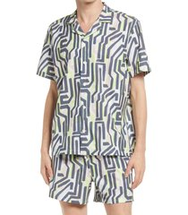 men's open edit short sleeve button-up swim shirt, size x-large - blue