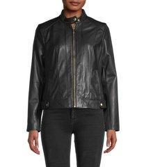 cole haan women's leather moto racer jacket - black - size xs