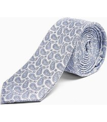 mens silver and blue paisley tie