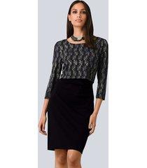 jurk alba moda zwart::wit::paars