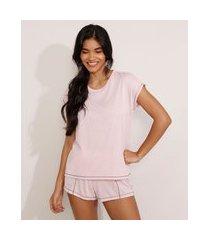 pijama com pespontos manga curta rosa