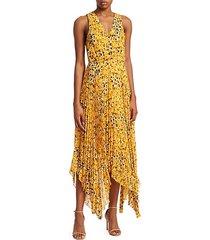sleeveless animal print pleated dress