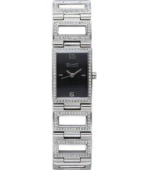 saint germain - orologio da polso solo tempo con cassa in acciaio e cinturino in acciaio con strass e quadrante nero per donna